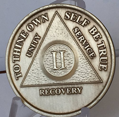 2 Year Bronze AA (Alcoholics Anonymous) - Sober / Sobriety / Birthday / Anniversary / Recovery / Medallion / Coin / Chip - 1