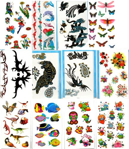 Kids Temporary Tattoos (12 Large Packs) Fish Dolphin Dinosaur Fairy Cartoon