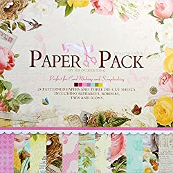 12 x12 Inch Decorative Card Making Scrapbooking Paper Pack (24 Patterned Sheets + 3 Die Cut Sheets)
