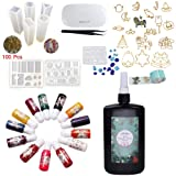 250g Clear UV Resin with Light & Tweezers & Molds & Bezels & Pigments, 8 Jewelry Making Molds, Foldable UV Lamp, 17 Open Back Bezels, Solid Color Liquid Dyes, Crafting Kit for Pendants Earrings (Color: 250g resin w/ lamp molds bezels pigment)
