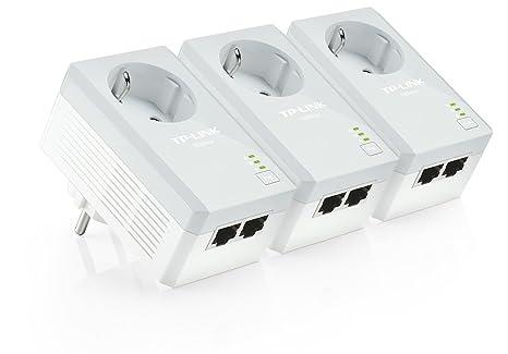 TP-LINK TL-PA4020PTKIT 500 Mbps Pack de 3 Adaptateurs CPL (2 Ports Ethernet, Prise Intégrée)
