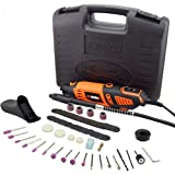 Rotary Tool Kit Variable Speed with Flex Shaft - Electric Rotary Drill/Sander/Grinder/Cutting/Polishing Tool, with 101pcs Multi-functional Accessories&2 Attachments&1 Carrying Case,for House and Craft (Color: With Case and Flex Shaft, Tamaño: New Version)