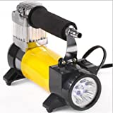 LPY-Portable Car Electric High Power Car Inflator 12V (With Lights) , Yellow (Color: Yellow)