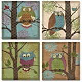 WallsThatSpeak 4 Whimsical Fantasy Owls in Trees Home Decor Art Prints, 12 by 12-Inch, Blue/Brown/Green
