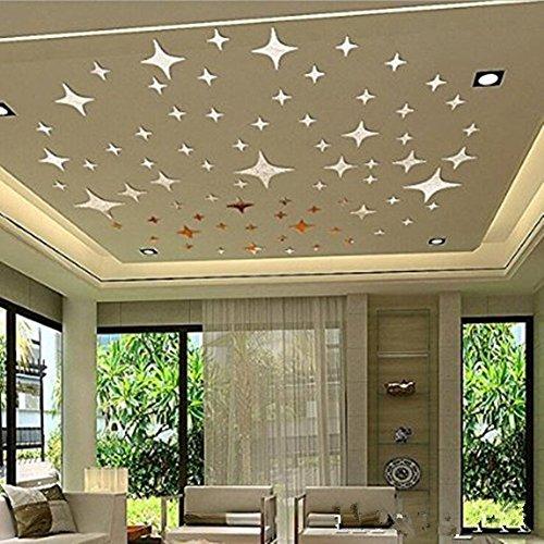 10cm 20cm 50 Stück Silber Bling Bling Spiegel Oberflächen Stern Aufkleber  DIY 3D