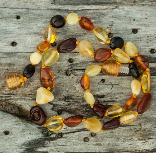 Olive Shape Baltic Amber Teething Necklace