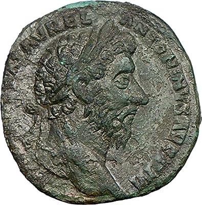 MARCUS AURELIUS Sestertius RARE BIG Ancient Roman Coin Salus Health Cult i21728