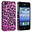 Insten Snap-on Case compatible with Apple iPhone 4 / 4S, Purple Leopard Rear
