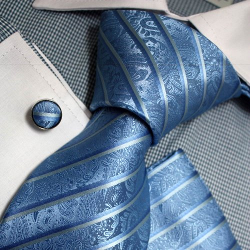 Blue Stripes Woven Silk Tie Handkerchiefs Cufflinks Present Box Set skyblue discount gifts Pointe Tie PH1088