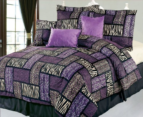 7 Piece King Safari Purple And Brown Patchwork Micro Suede Comforter Set front-103971