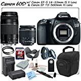 Canon EOS 60D Digital SLR with Canon EF-S 18-55mm f/3.5-5.6 IS II Lens & Canon EF 75-300mm f/4-5.6 III Lens & CS Sports Package: Includes High Definition Wide Angle/Macro Lens, 2 UV Filters, High Speed 32GB SDHC Memory Card, SD Card Reader, Holster Case, Canon LPE6 Replacement Battery, Rapid Travel Charger, Tulip Lens Hood, Remote Shutter Release, Brush Blower, Cleaning Kit, Lens Pen & CS Microfiber Cleaning Cloth