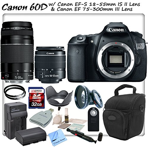 Canon Eos 60D Digital Slr With Canon Ef-S 18-55Mm F/3.5-5.6 Is Ii Lens & Canon Ef 75-300Mm F/4-5.6 Iii Lens & Cs Sports Package: Includes High Definition Wide Angle/Macro Lens, 2 Uv Filters, High Speed 32Gb Sdhc Memory Card, Sd Card Reader, Holster Case,