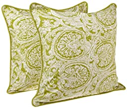 Tululah Designs 18-Inch by 18-Inch Gypsy Print Cushion Cover, Green, Set of 2
