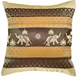 Avarada Print Elephant Sun Decorative Throw Pillow Cover 16x16 Inch Brige Brown