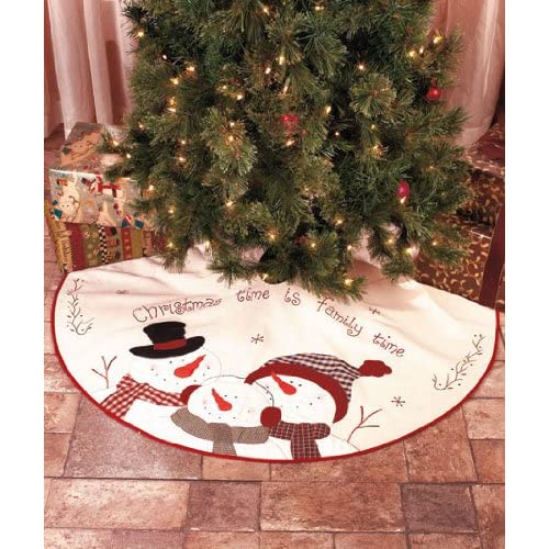 Christmas Tree Skirt 46 inches in diamener Embroidered Christmas Time is Family Time