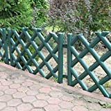 Green 3.5 m long plastic garden picket fence, 4 colours