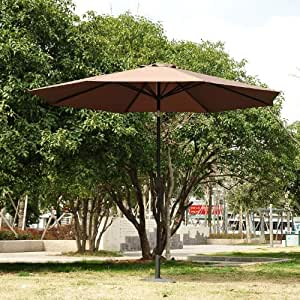 PARASOL EN ALUMINIUM ROND POLYESTER 180G/M2 MANIVELLE INCLINABLE DIAMETRE 300CM CHOCOLAT NEUF 79