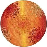 Safavieh Soho Collection Explosions Handmade New Zealand Wool Round Area Rug, 6-Feet by 6-Feet, Rust
