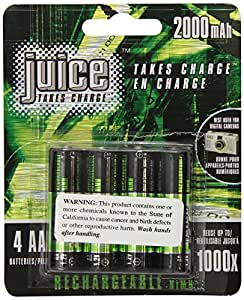 Juice Rechargeable NiMH Batteries, Size AA, 4-Count Packages (Pack of 2)