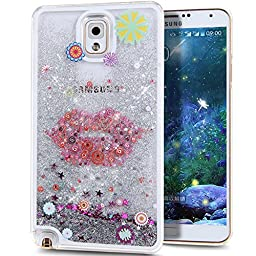 Galaxy Note 3 Case, ikasus Galaxy Note 3 [Liquid Bling] Case, Creative Design [Flowing Liquid] Floating Luxury Bling Glitter Sparkle Stars Hard Case for Samsung Galaxy Note 3,Silver Flower Lips