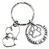 It's All About.You! Forever in My Heart Double Hearts Puppy Dog Paw Keychain 4A (Tamaño: Forever in My Heart)