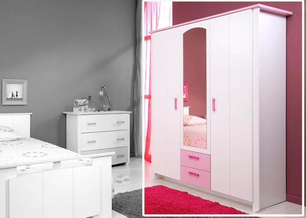 Jumbo-Möbel Kleiderschrank BIOTIFUL 11 in Weiß & Rosa, B: 136 cm online bestellen