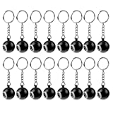 Dovewill 16 Pieces Billiard Pool Keychain Snooker Table Ball Key Ring Gift Lucky NO.8 Keychain 25mm Black (Color: Black)