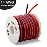 14 Gauge Silicone Wire Spool 40 Feet, Ultra Flexible High Temp 200 deg C 600V 14 AWG Stranded Wire with 400 Strands of Tinned Copper Wire, 20 ft Black and 20 ft Red Wire for Model Battery by MILAPEAK (Tamaño: e)14 AWG Silicone Wire 40ft -20ft Black+20ft Red)