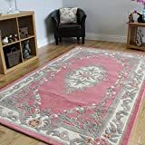 100% Wool Baby Pink Shabby Chic Traditional Aubusson Design Rug 7 Sizes- Imperial