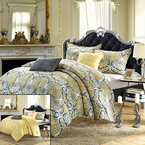 Radiant 9-Piece Luxury Bed-In-A-Bag Reversible Comforter Set Queen Size, Printed; Comes With Shams, Sheet Set And Decorative Pillows
