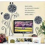 Black Dandellion Nature Flower Theme Wall Art Sticker For Living Room