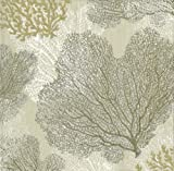 Entertaining with Caspari Sea Fans Paper Cocktail Napkins, Taupe, Box of 40