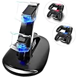 KONKY - PS4 Controller Charging Dock Stand, USB Dual Charger Station Accessory with LED Indicator for Playstation 4 / PS4 Slim Pro and PSVR Controller, Black (Color: X01-blue)