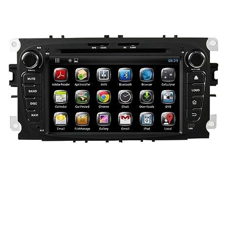 Canbus dessus, navigateur satellite GPS 7 pouces Android 4.2.2 pour PC, DVD Player pour Ford Focus 2008 2009 2010 Wi-Fi-Bluetooth-Radio de navigation GPS Go DDR3 1,6 CPU capacitif pour écran tactile 3 g Stereo Audio Panneau Noir