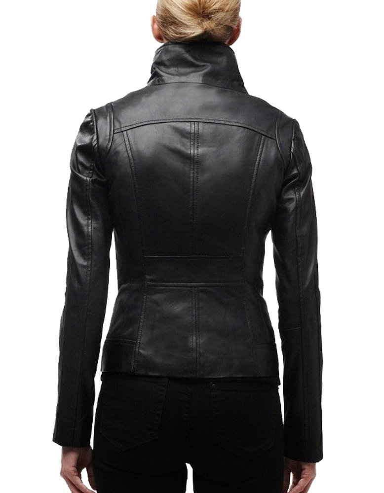 Vintage Women's Slim Biker Motorcycle Real Leather Zipper Jacket W196 1
