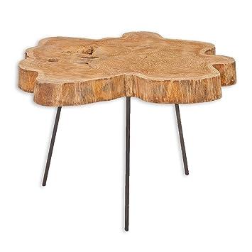 Beistelltisch/Couchtisch SLICE ca.60cm Natural Teak Massivholz Metall