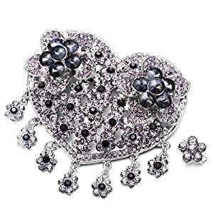 Pugster Luxury Vintage Gray Crystal Heart Flower Set Brooches And Pins