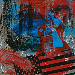 38W x 38H Les Pauls in the City by Guldenstern - Stretched Canvas w/ BRUSHSTROKES