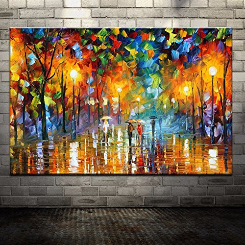 Large Handpainted Lovers Rain Stree Tree Lamp Landscape Oil Painting on Canvas Wall Art Picture for Home Decoration Wall Decor