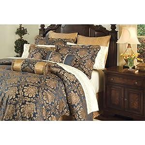 8 pc ardenne gold navy blue comforter set w matching sheets. Black Bedroom Furniture Sets. Home Design Ideas