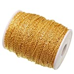 ILOVEDIY 100m/lot Gold Plated Cable Chain Roll in Bulk for Necklace Jewelry Making 3x2mm