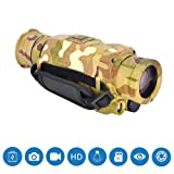 2Krmstr Monocular Telescope, Night Vision 5X Infrared Digital Camera Video, Rechargeable Lithium Battery, Compact Single Hand Focus for Bird Watching Hunting Camping. (Color: Camouflage, Tamaño: 178 x 72 x 78mm)