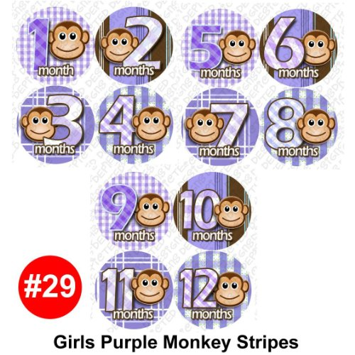 PURPLE MONKEY STRIPES Baby Month Onesie Stickers Baby Shower Gift Photo Shower Stickers, baby shower gift by OnesieStickers