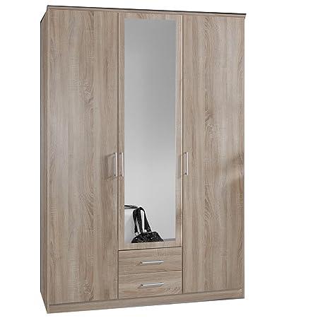 German Omega Oak 3 Door Mirror Door Wardrobe