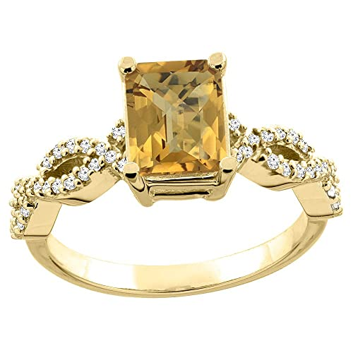 14ct White/Yellow Gold Natural Whisky Quartz Eternity Ring Octagon 9x7mm Diamond Accent 3/8 inch wide, sizes J - T