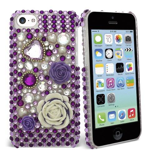 Celicious Lilac Flower Heart Diamante Case for Apple iPhone 5c