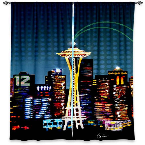 Window Curtains Unlined From Dianoche Designs Artistic, Stylish, Unique, Decorative, Fun, Funky, Cool By - Corina Bakke Seattle Skyline Sports