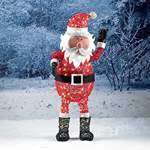 Tri flora 70cm outdoor pvc rattan christmas santa figure for Outdoor christmas figures