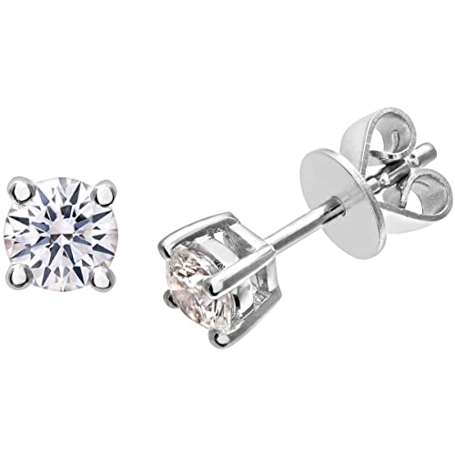 Naava 18 ct Stud Earrings, IJ/I Certified Diamonds, Round Brilliant
