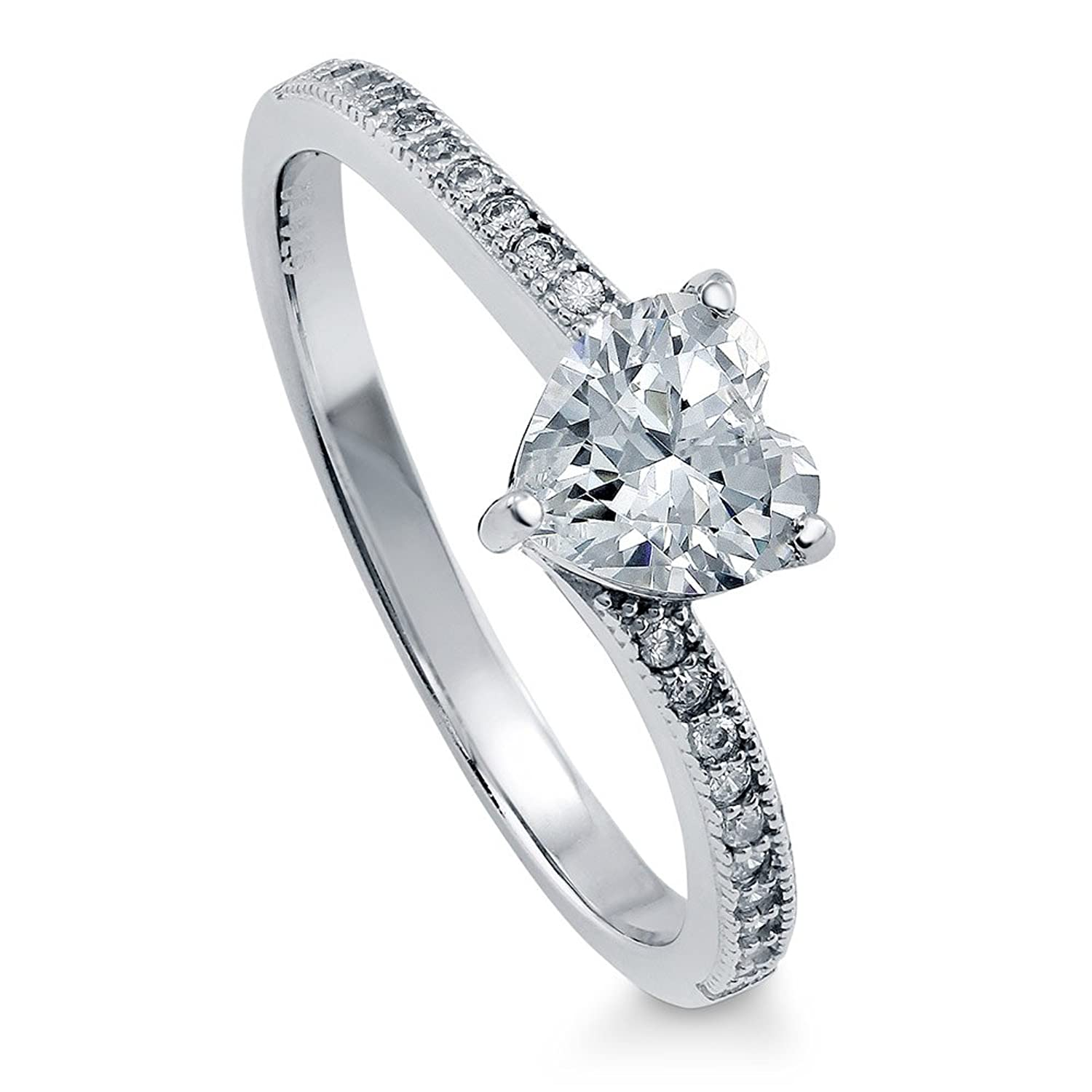 BERRICLE Sterling Silver Cubic Zirconia CZ Heart Solitaire Promise Engagement Wedding Ring